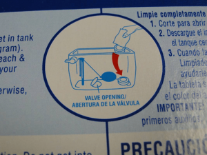 Photo 4: Typical instructions specify the use of cleaning tablets in the toilet tank.